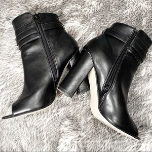 Black Faux Leather Peep toe booties ▪️ Just Fab